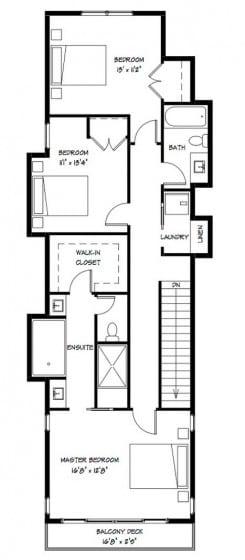 Plano del segundo piso de casa de 2 plantas