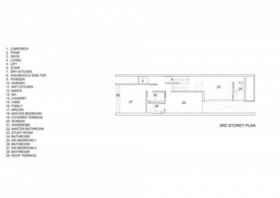 Plano del tercer piso de casa angosta