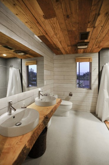Diseño de cuarto de baño rústico