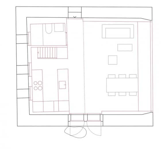Plano de cabaña pequeña