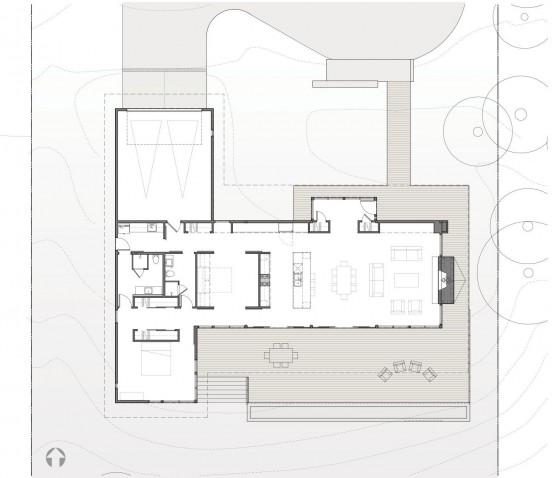 Plano de casa de madera de una planta