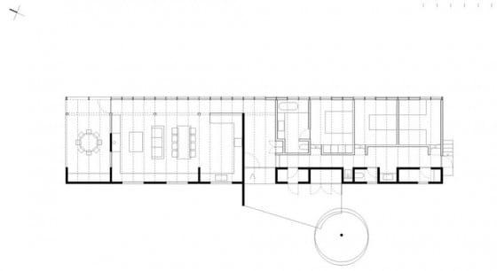 Plano de casa de un piso forma rectangular