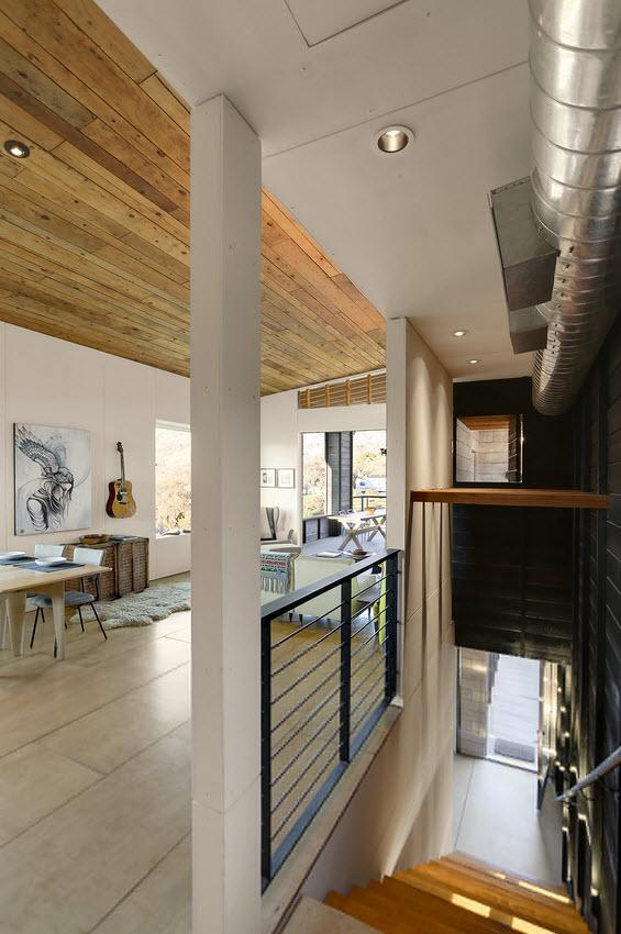 Planos de caba a moderna de dos pisos for Salas con escaleras