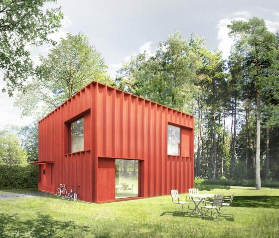 Diseño de casa cuadrada pequeño estilo cubo