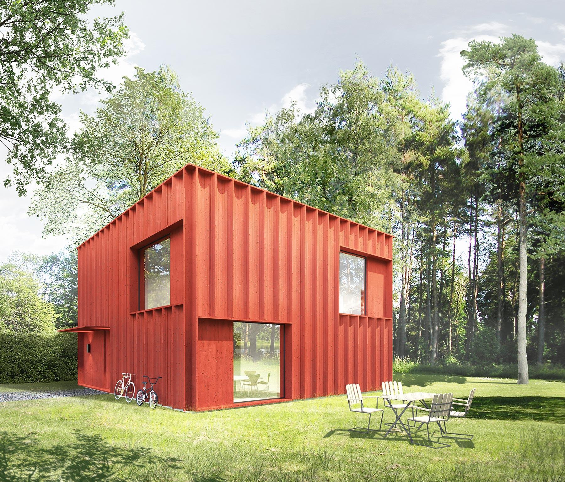 Planos de casa cuadrada peque a y moderna construye hogar for Diseno de frente de casa pequena