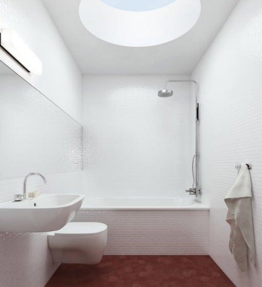 Diseño de cuarto de baño azulejos pequeños blancos