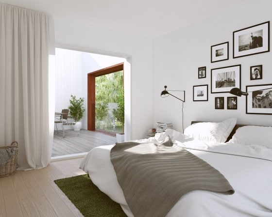 Diseño de dormitorio con terraza