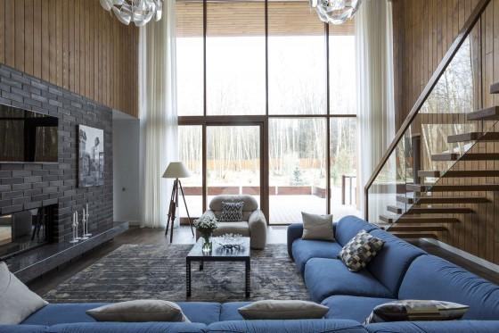 Diseño de interiores de sala de casa de campo moderna