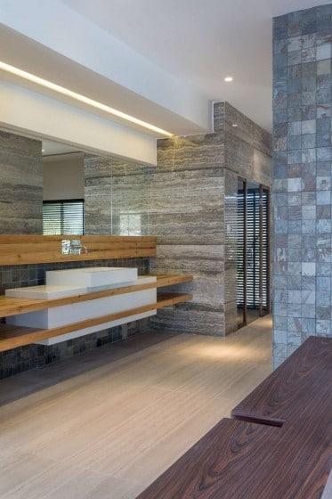 Diseño de lavabo moderno de mármol y madera