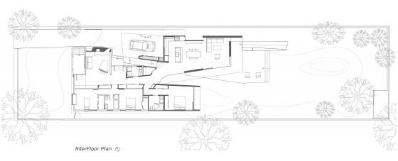 Plano de casa de una planta de tres dormitorios