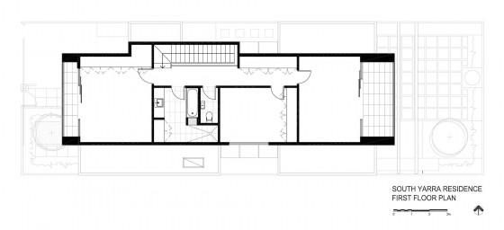 Plano de casa moderna de dos pisos - segundo nivel