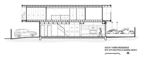 Plano de corte de casa de dos pisos construida con vigas acero