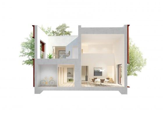 Plano de corte de casa pequeña cuadrada