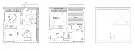 Planos de casa pequeña de forma cuadrada