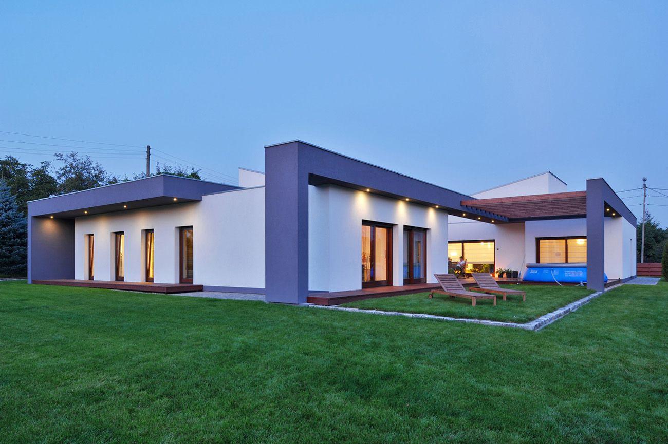 Dise o de casa de una planta con planos for Fachada de casa moderna de un piso