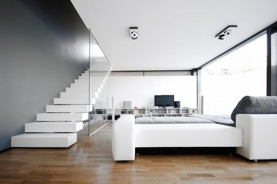 Diseño de interiores de sala en color  blanco y negro