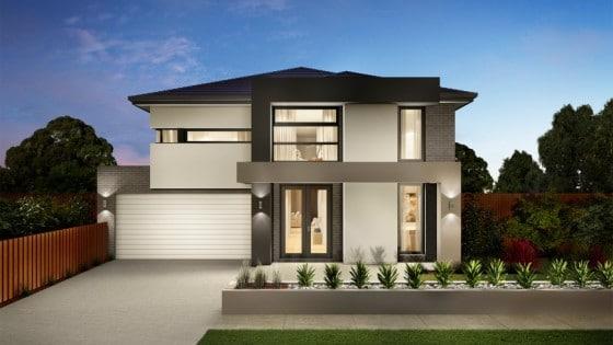 Fachada de casa moderna de dos plantas con techos inclinados