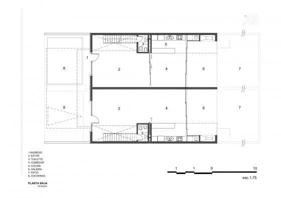 Plano de casa de dos pisos pequeña  - Primera planta