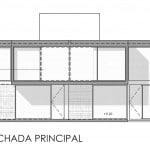 Plano de detalles de fachada de casa de dos pisos