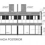 Plano de fachada posterior de casa de dos pisos