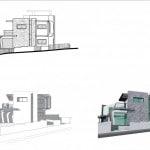 Planos de elevaciones de casa moderna de dos plantas