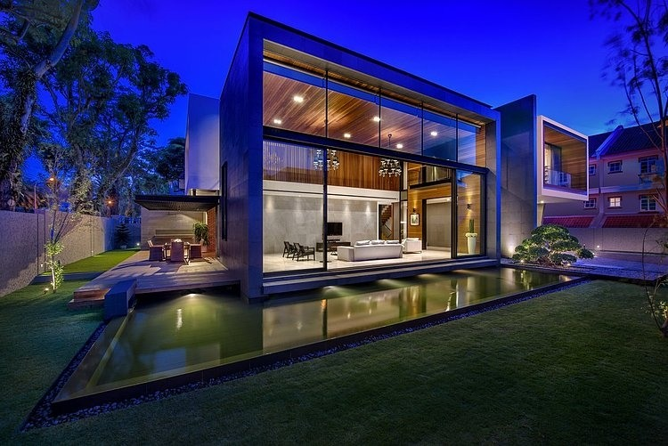 Dise o de casa moderna terreno grande - Casas modernas con piscina ...