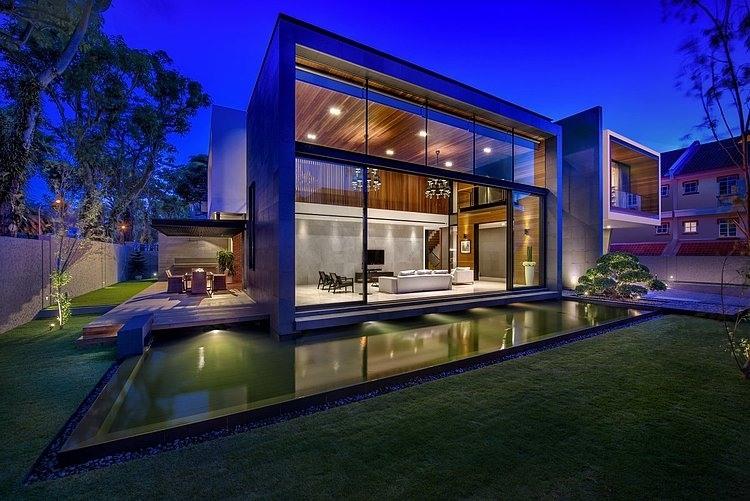 Dise o de casa moderna terreno grande construye hogar for Casa moderna living