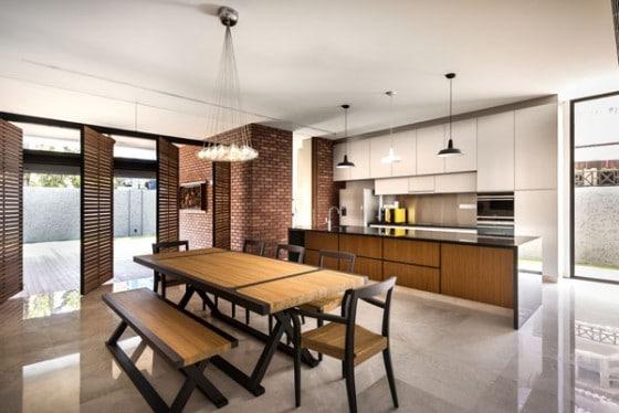 Diseño de cocina - comedor estilo moderno con mesa clásica
