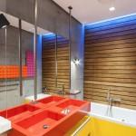 Diseño de lavabo color rojo