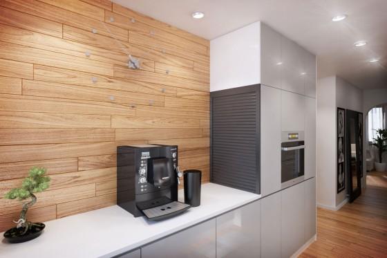Diseño de muebles de cocina blancos de departamento pequeño
