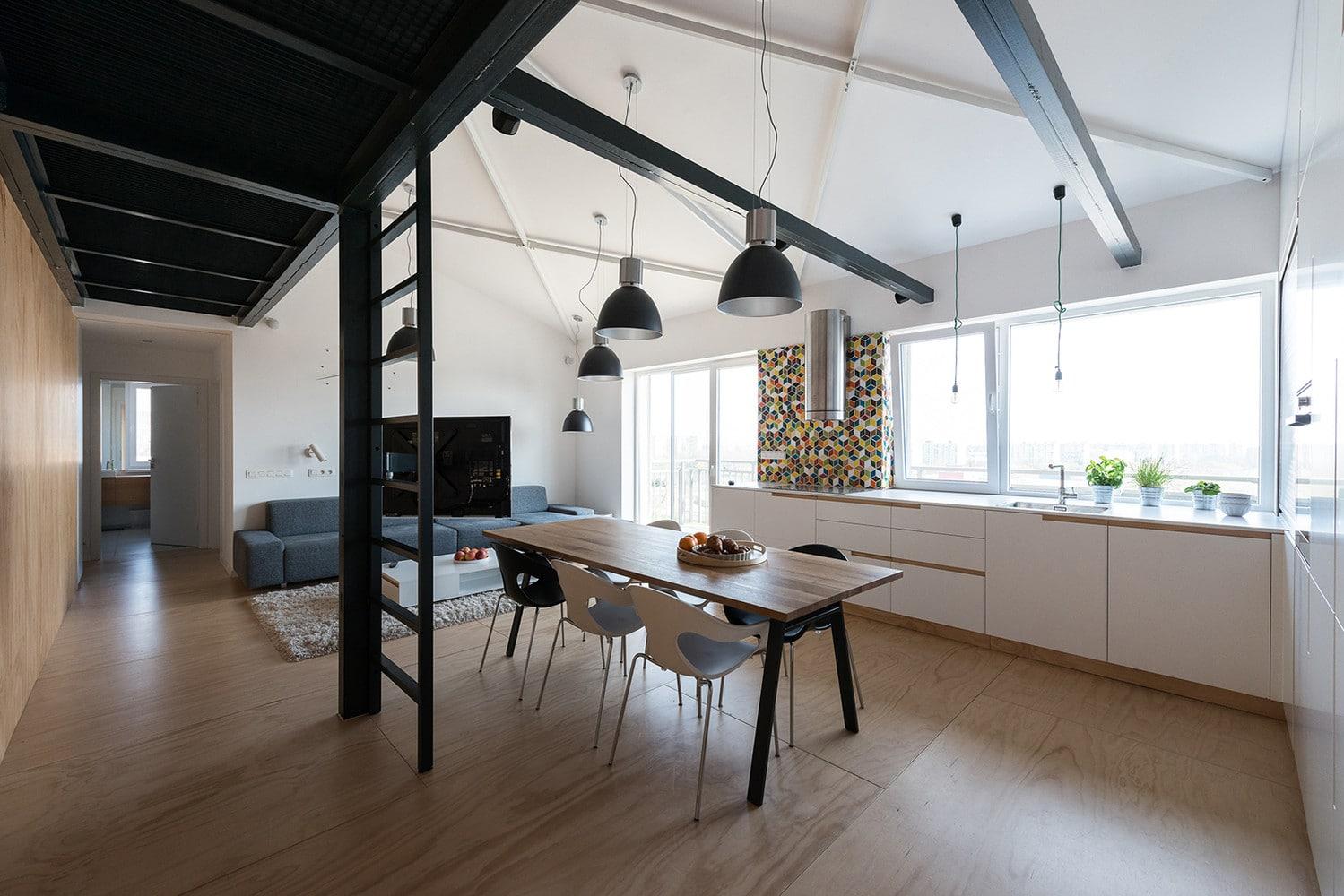 Dise o de departamento loft con plano construye hogar for Estructura de una cocina industrial