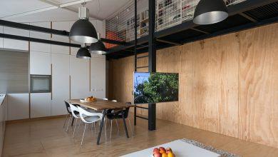 Photo of Diseño de departamento loft  con planos en forma de L, decoración juvenil con elementos de diseño industriales