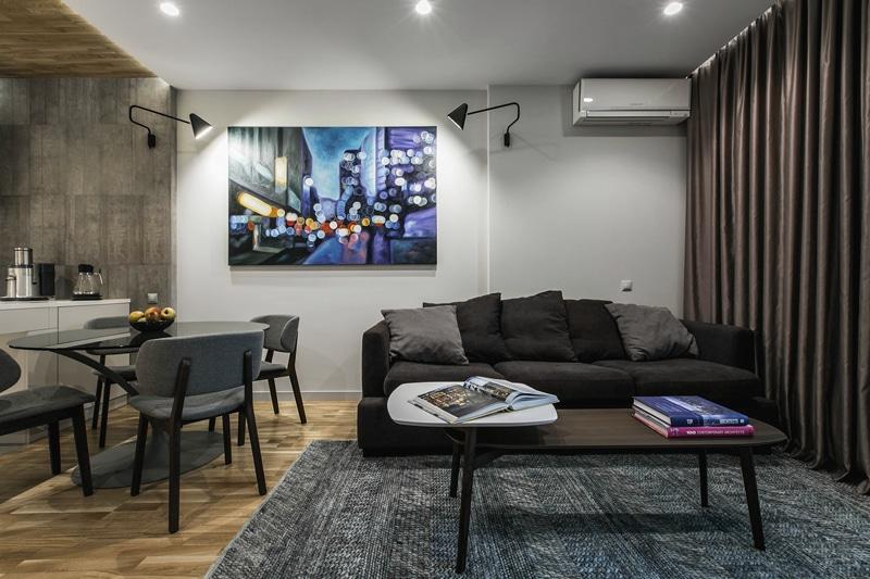 Plano de departamento peque o un dormitorio for Salas para departamentos pequenos