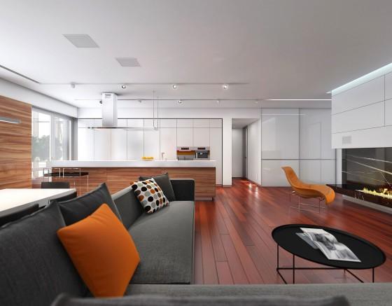 Diseño de sala y cocina comedor de departamento pequeño