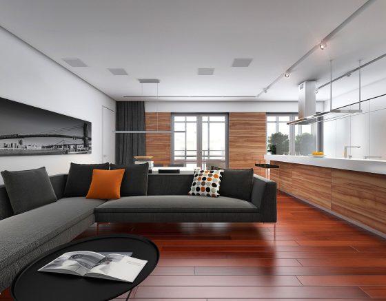 Diseño de sala y cocina moderna de departamento