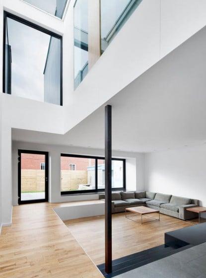 Diseño de sala y vista del tragaluz