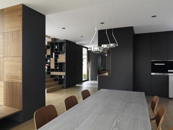 Muebles y estantes de diseño de interiores de color negro