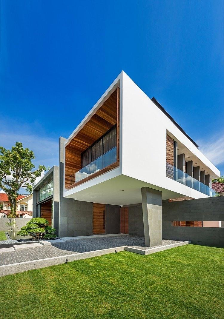 Dise o de casa moderna terreno grande construye hogar for Casa moderna hormigon