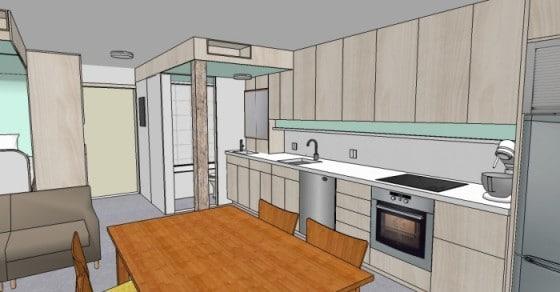 Plano 3D de interiores de departamento pequeño
