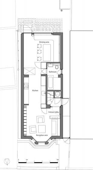 Plano de casa de dos pisos - primer planta