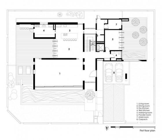 Plano de casa de tres pisos - primera planta