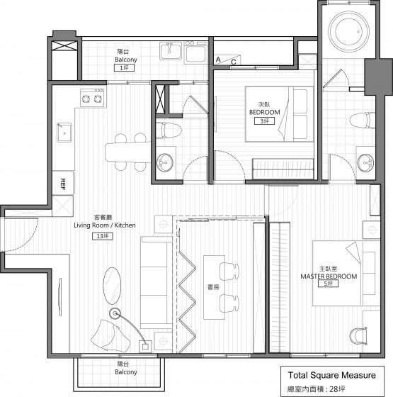 Plano de departamento de dos dormitorios y estudio