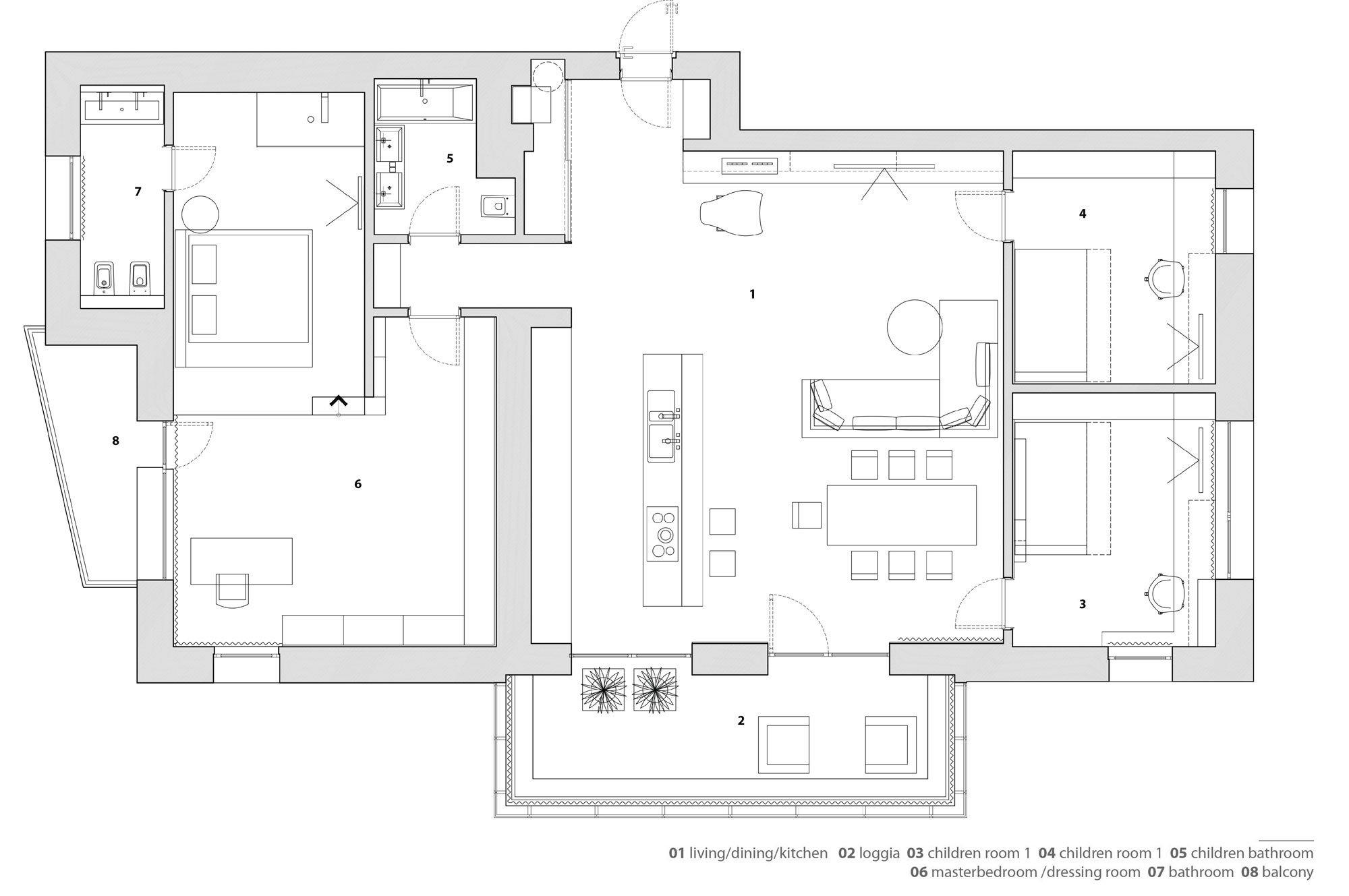 Plano de departamento de tres dormitorios for Distribucion departamentos modernos