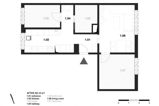 Plano de departamento forma de L de dos dormitorios