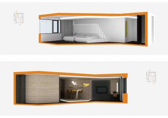 Planos 3D de cortes de departamento pequeño