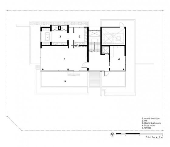 Planos de casa de tres pisos - Tercera planta