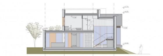 Planos de corte de casa moderna de dos pisos