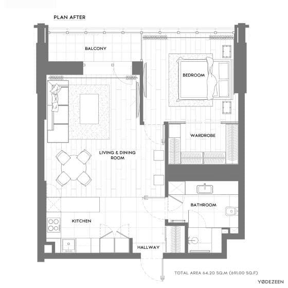 Planos de departamento pequeño de 64 m²