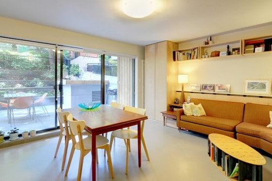 Vista de comedor y sala de departamento pequeño