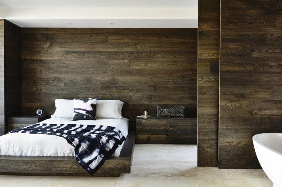Diseño de dormitorio paredes de madera